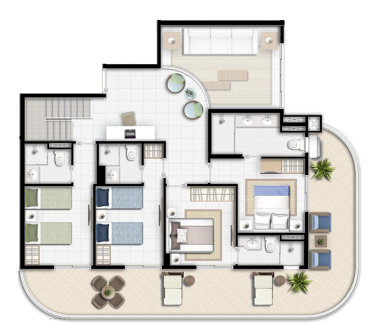 Apartamento à venda no Riviera de São Lourenço: 1º Pavimento